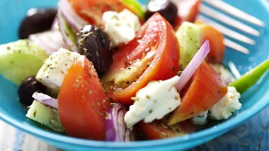 Theia Mediterranean Herb Spreadable feta Cheese Tomato and Cucumber Salad